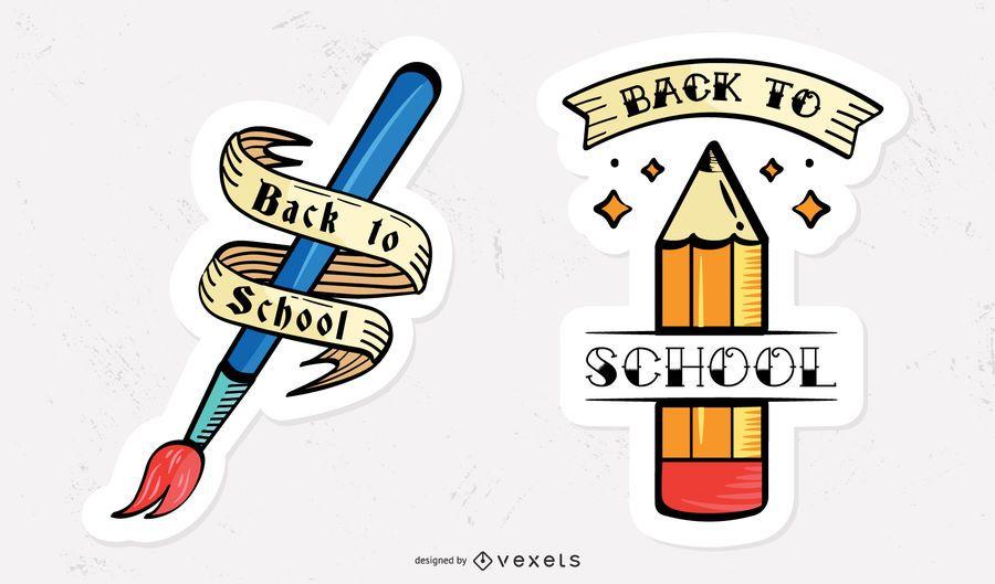 Set of vintage school stickers
