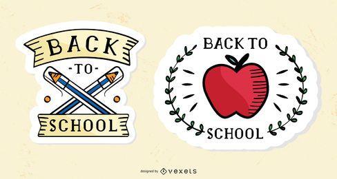Conjunto de pegatinas vintage de regreso a la escuela.