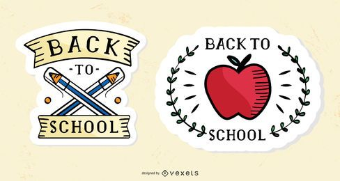 Vintage back to school stickers set