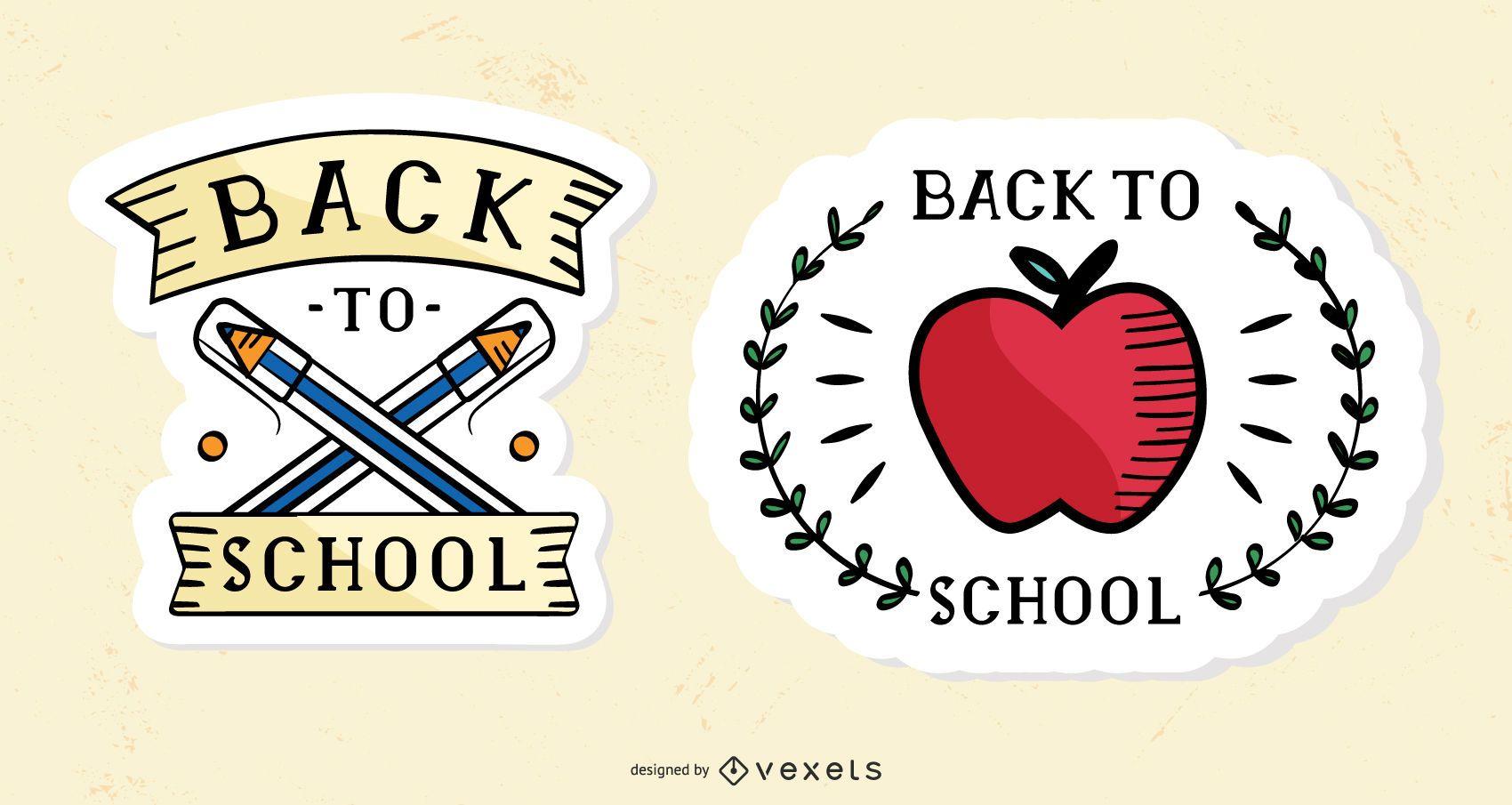 Vintage back to school stickers set