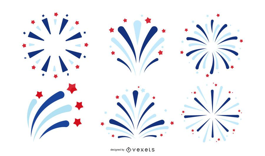 american fireworks icon set