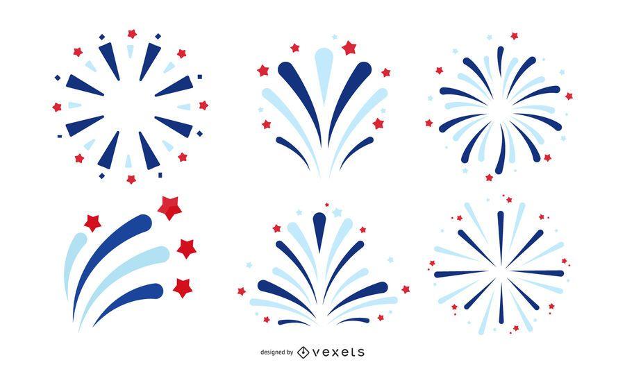 amerikanisches Feuerwerk-Icon-Set