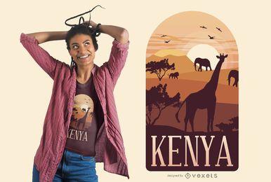 Projeto do t-shirt da paisagem de Kenya