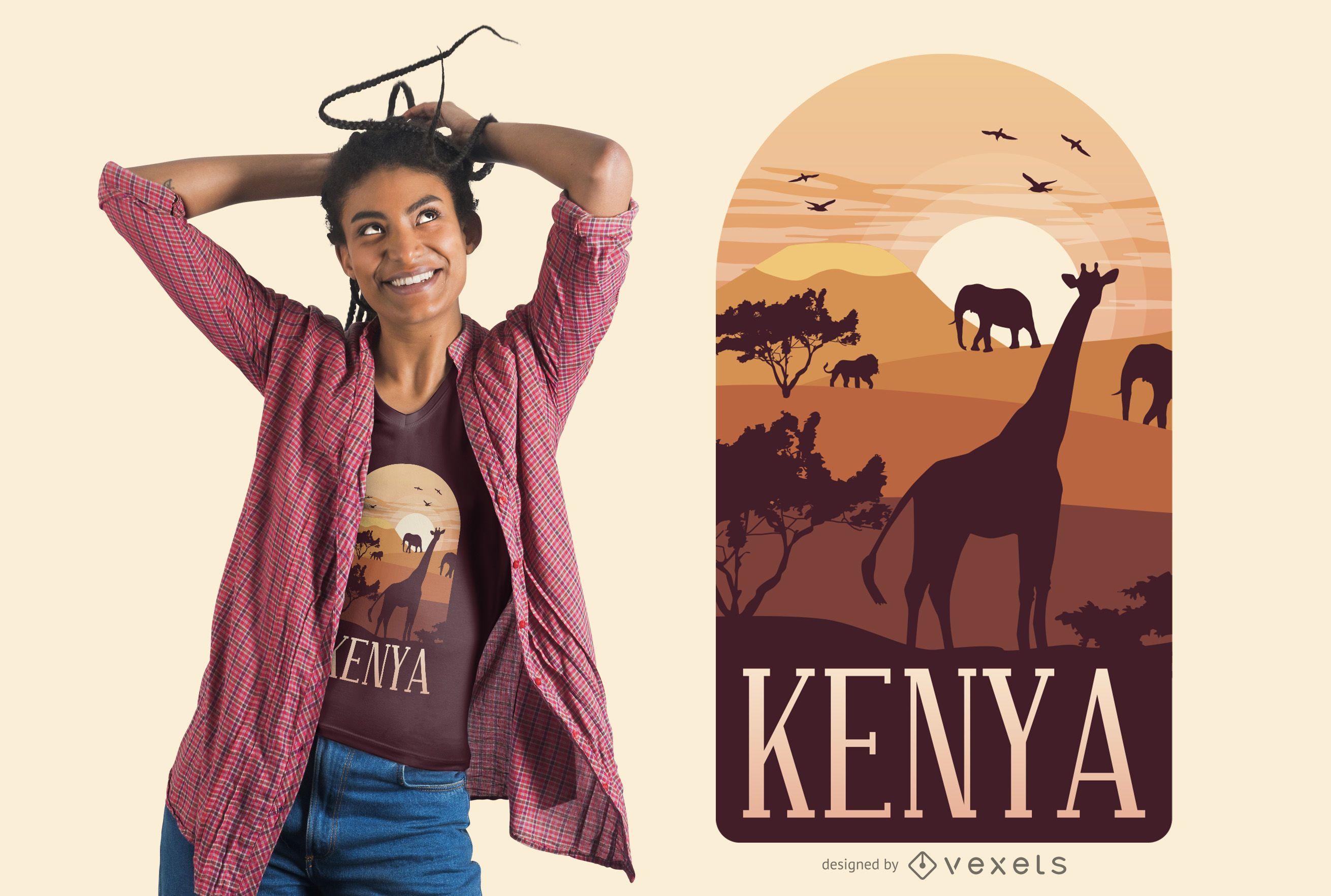 Diseño de camiseta de paisaje de Kenia