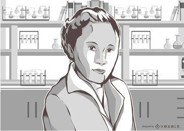 Mujer, científico, ilustración