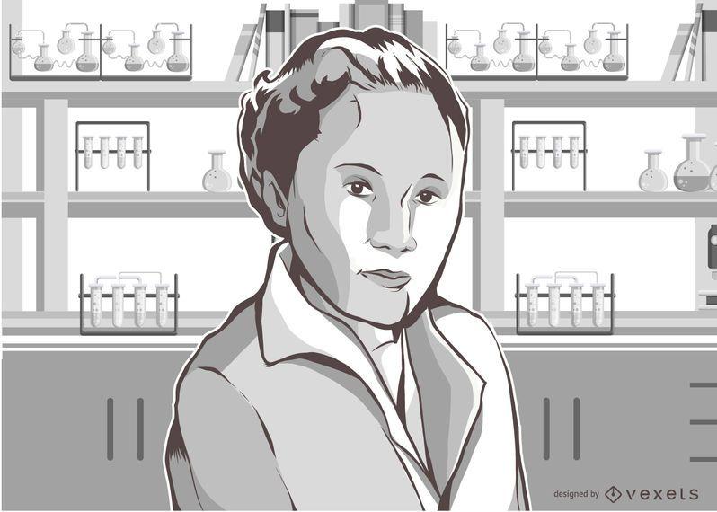 Mulher, cientista, ilustração