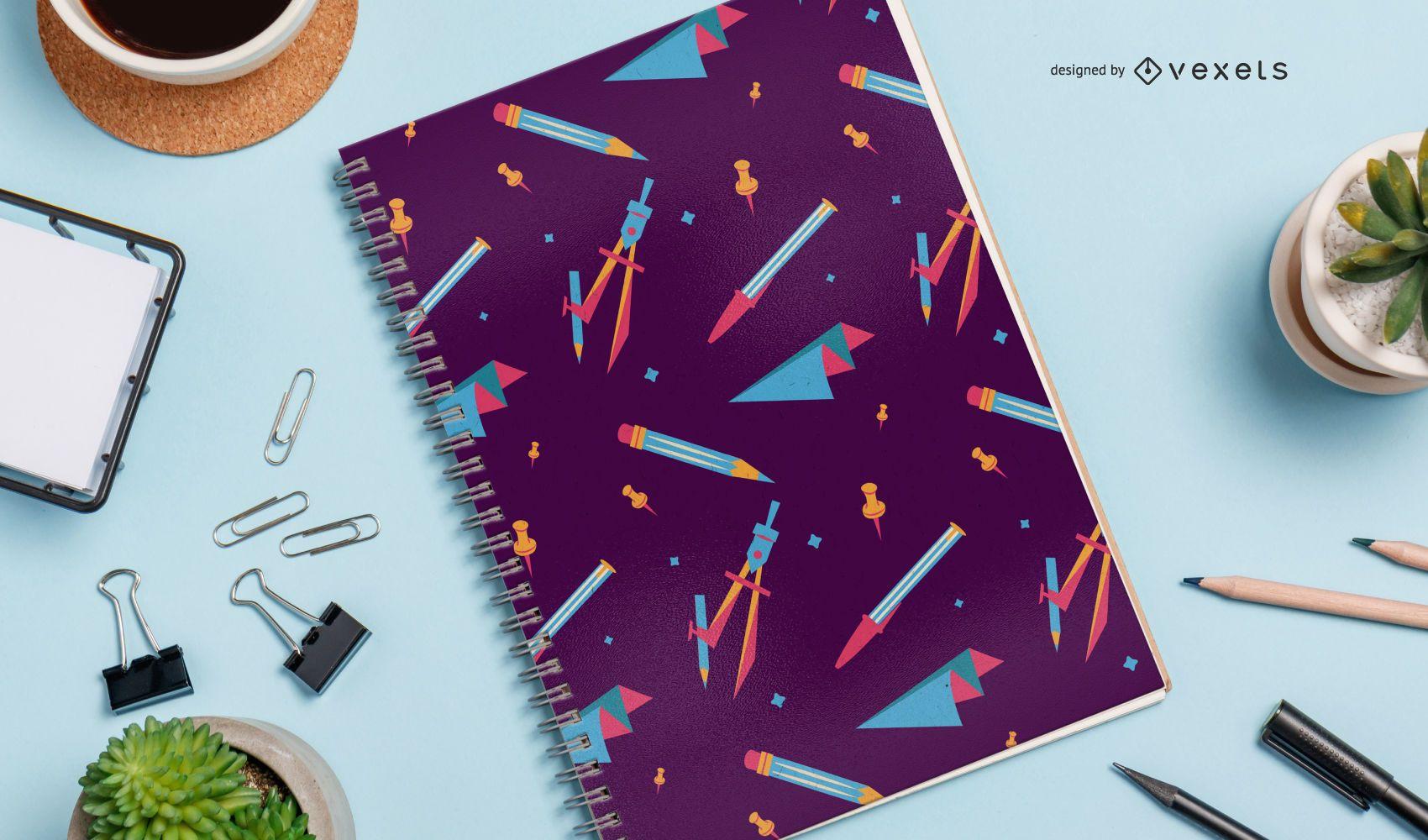 Projeto de padrão de caderno de elementos escolares