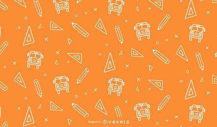 Diseño de patrón de línea de elementos escolares