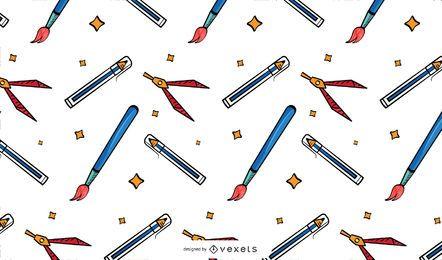 Diseño de patrón de útiles escolares vintage