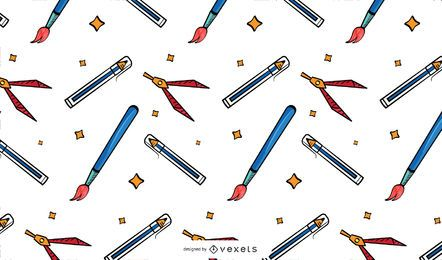 Vintage school supplies pattern design
