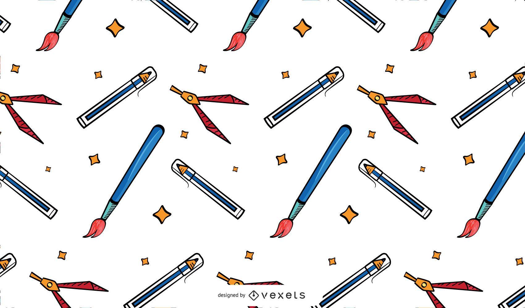 Vintage school supplies pattern design