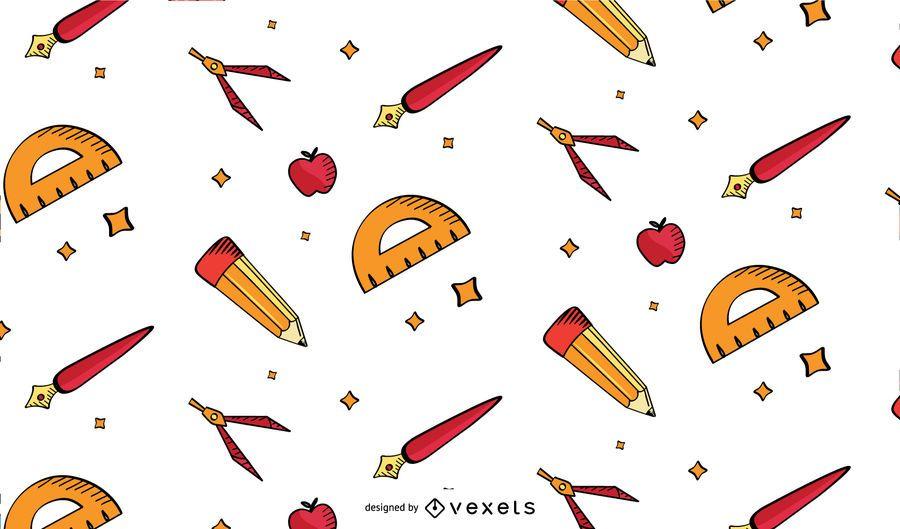 Old school supplies pattern design