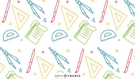 Padrão de material escolar colorido