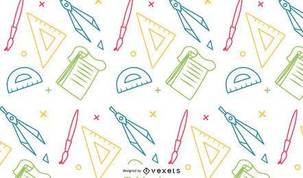 Patrón de útiles escolares coloridos