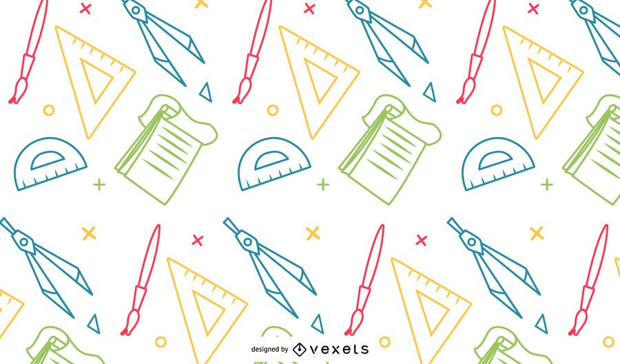 Colorful school supplies pattern