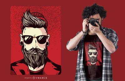 Diseño de camiseta de hipster barbudo