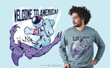 Astronauta de perfuração alienígena t-shirt design