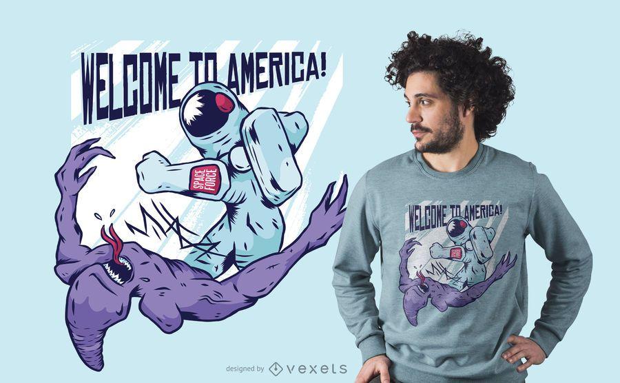 Astronaut punching alien t-shirt design
