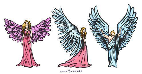 Conjunto de anjos coloridos