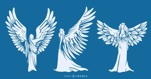 Winged angels silhouettes set