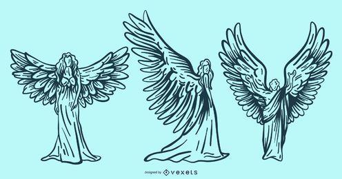 conjunto de anjos mão desenhada