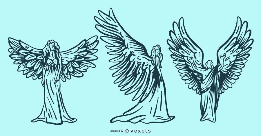 hand drawn angels set