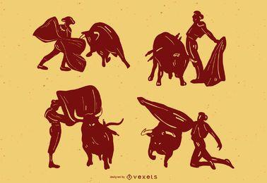 Conjunto de silhueta de touradas