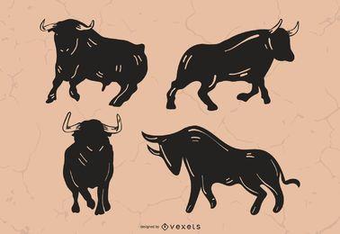 Conjunto de silueta de toro