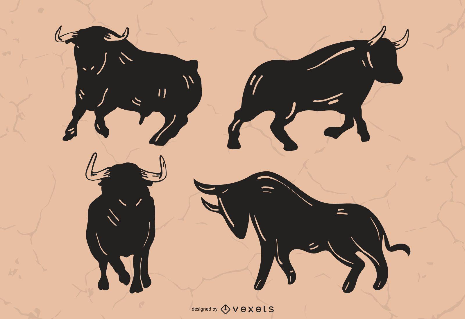 Bull silhouette set