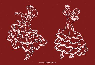 Conjunto de linha de dançarina de flamenco