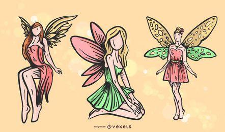 Conjunto de ilustração de fadas coloridas