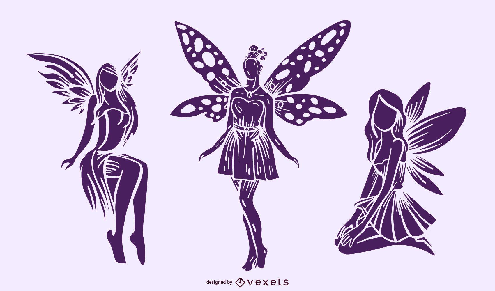 Detailed fairy silhouette set