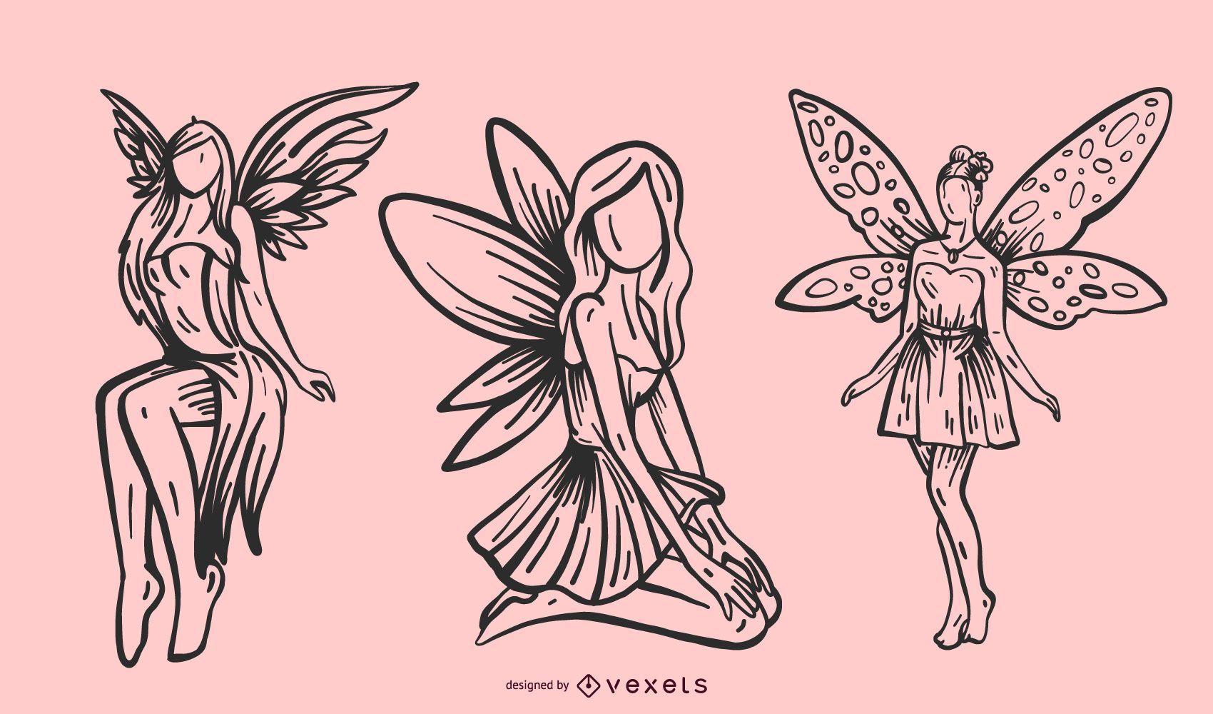Winged fairy line illustration set