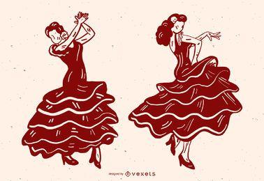 Frauen-Tanzen-Flamenco-Vektor-Grafik