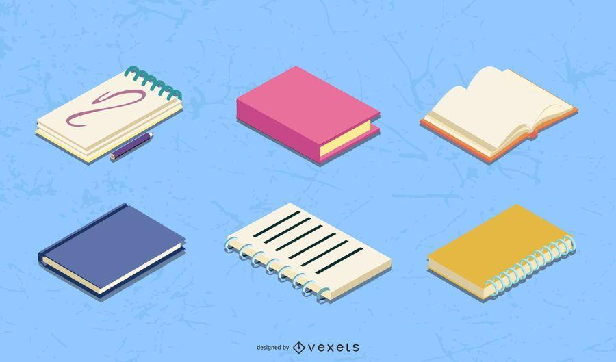 Conjunto de vetores de bloco de notas isométrico