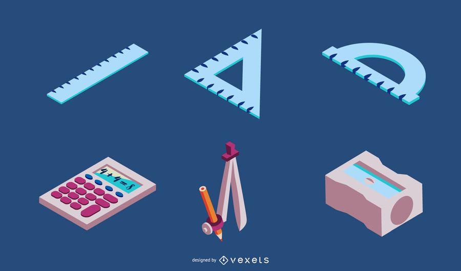 Conjunto de vectores de elementos escolares