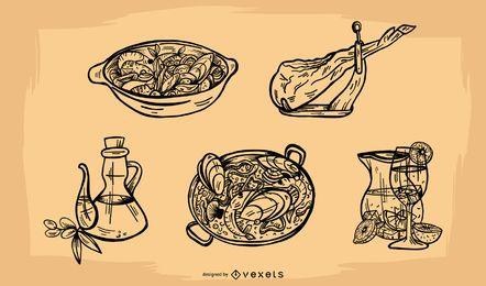Conjunto de vectores de elementos de alimentos