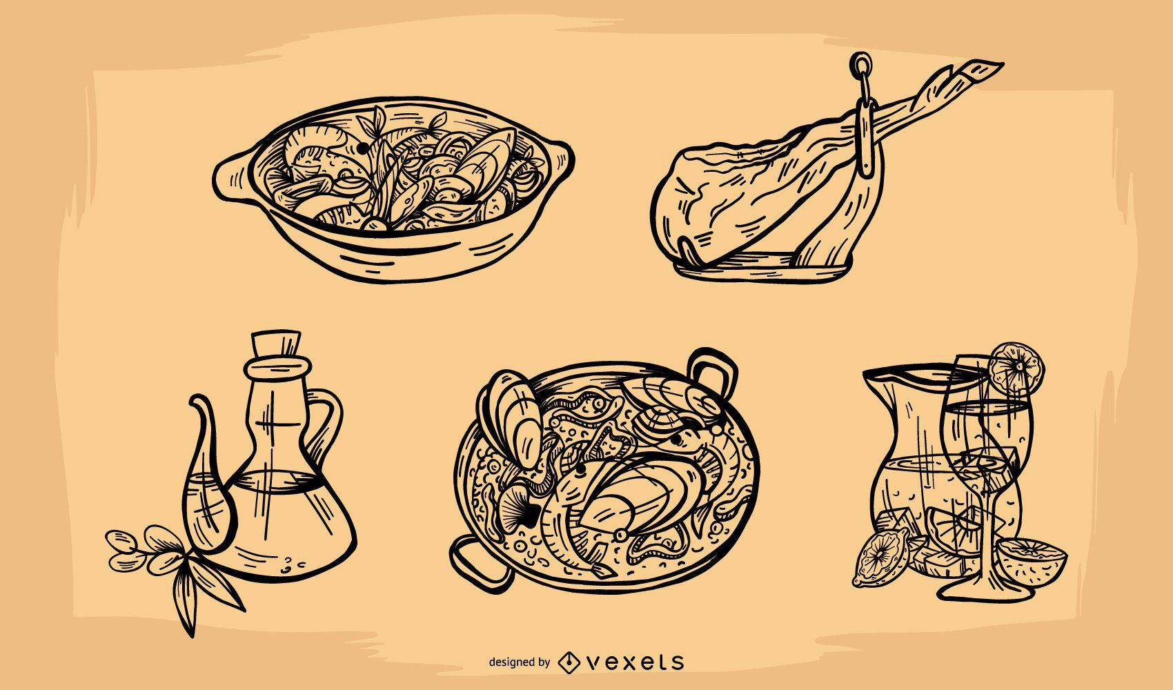 Conjunto de vectores de elementos de comida