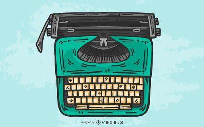 Diseño ilustrado del vector de la máquina de escribir