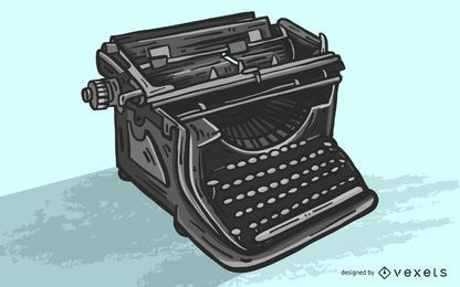 Black Typewriter Vector Illustration