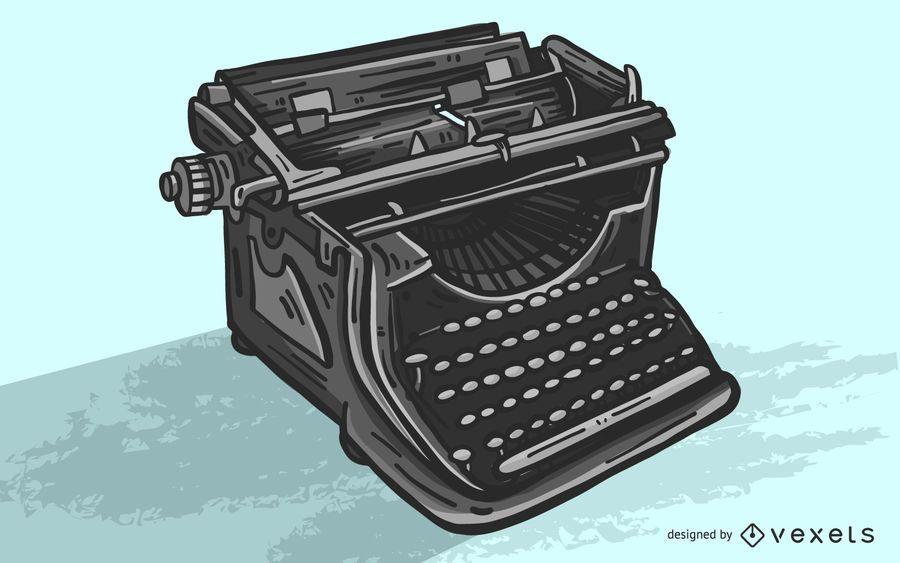 Máquina de escribir negra ilustración vectorial