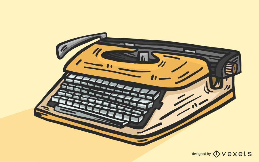 Gelber Weinlese-Schreibmaschinen-Vektor