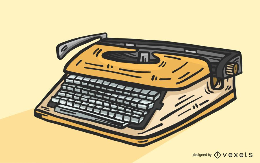 Vector amarillo de la máquina de escribir de la vendimia