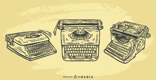 Conjunto ilustrado del vector de la máquina de escribir