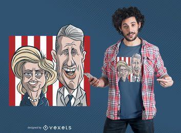 Clinton-Paar-Cartoon-T-Shirt Entwurf