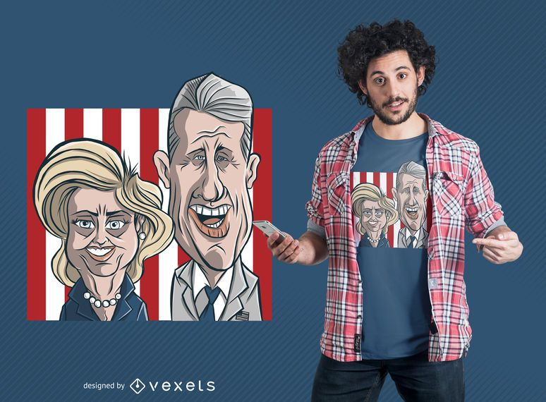 Clinton Couple Cartoon T-Shirt Design