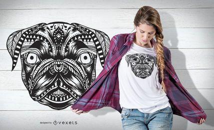 Projeto do t-shirt da mandala do Pug
