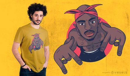 Diseño de camiseta de hombre rapero