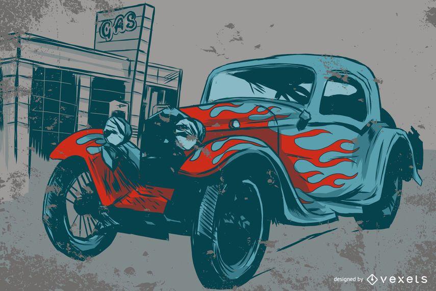 Auto mit Flammen