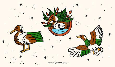 Conjunto de dibujos animados de tatuaje de pato vintage